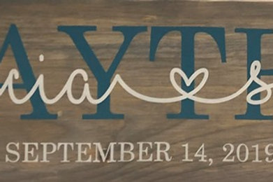 Couple Wooden Sign 8x32