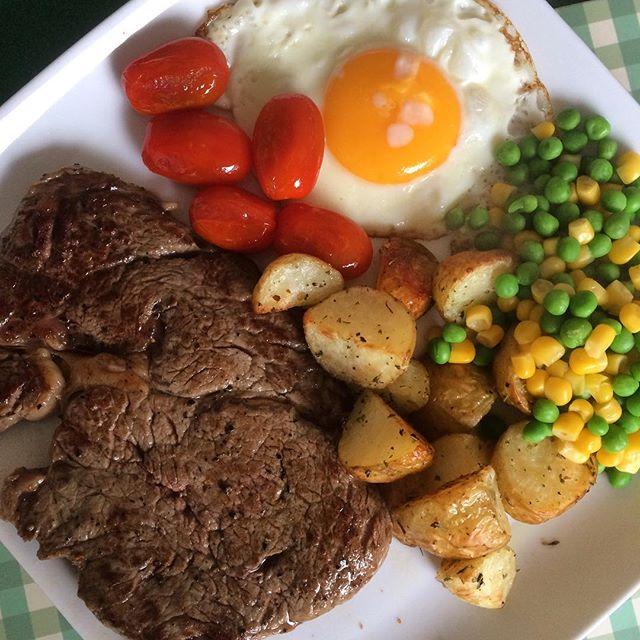 Friday night steak dinner, with veg, and egg and homemade herbed potatoes...jpg