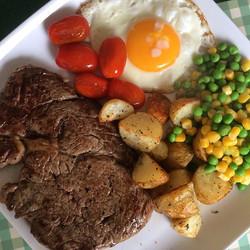 Friday night steak dinner, with veg, and egg and homemade herbed potatoes...jpg