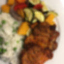 Mums found these amazing pork chops, Mediterranean flavoured, and we cooked them with rice and peas,