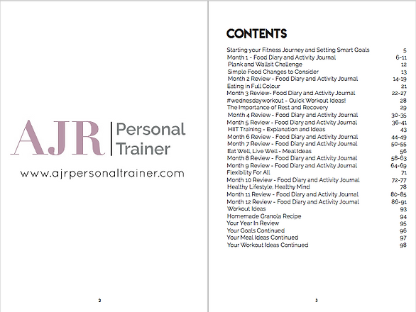 AJR Fitness Journal Contents Page
