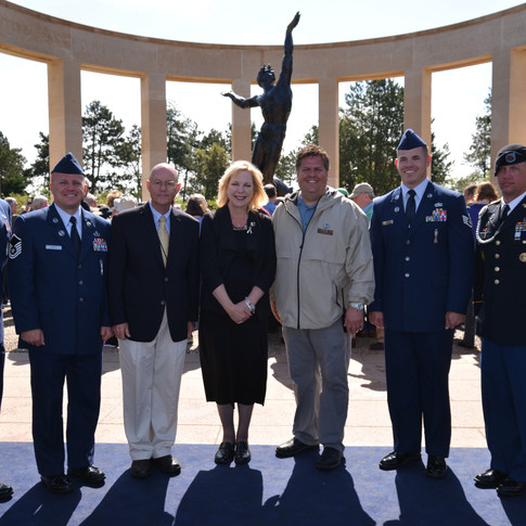 Joel Biggs & Earl Hurrey with Mary Eisenhower for WWII Commemoration in France