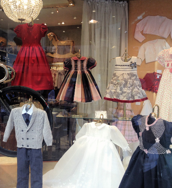 Window display of children's clothing in Florence. Photo by Diana Dinverno