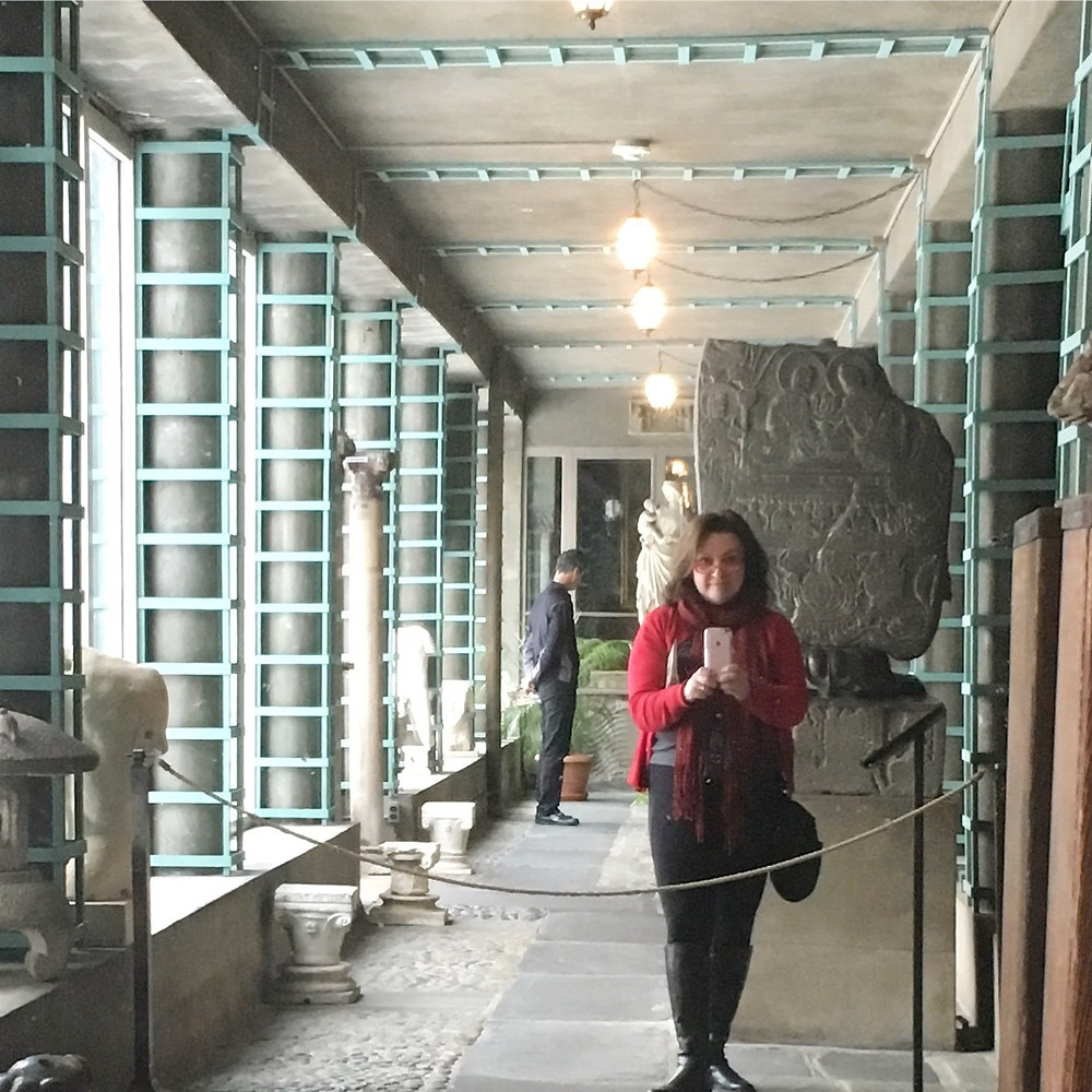 Selfie in the light-filled Chinese Loggia of the Garder Museum. Photo by Diana Dinverno.