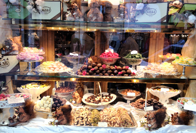 Sweet temptations in window of Caffe Gilli. Photo by Diana Dinverno