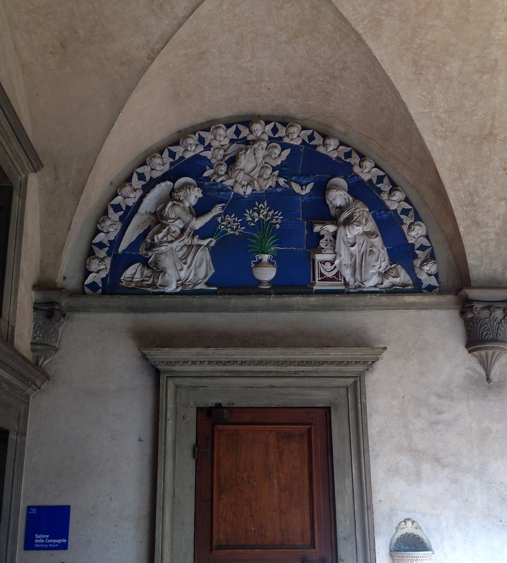 Andrea della Robbia's Annunciation at the Hospital of the Innocents. Photo by Diana Dinverno