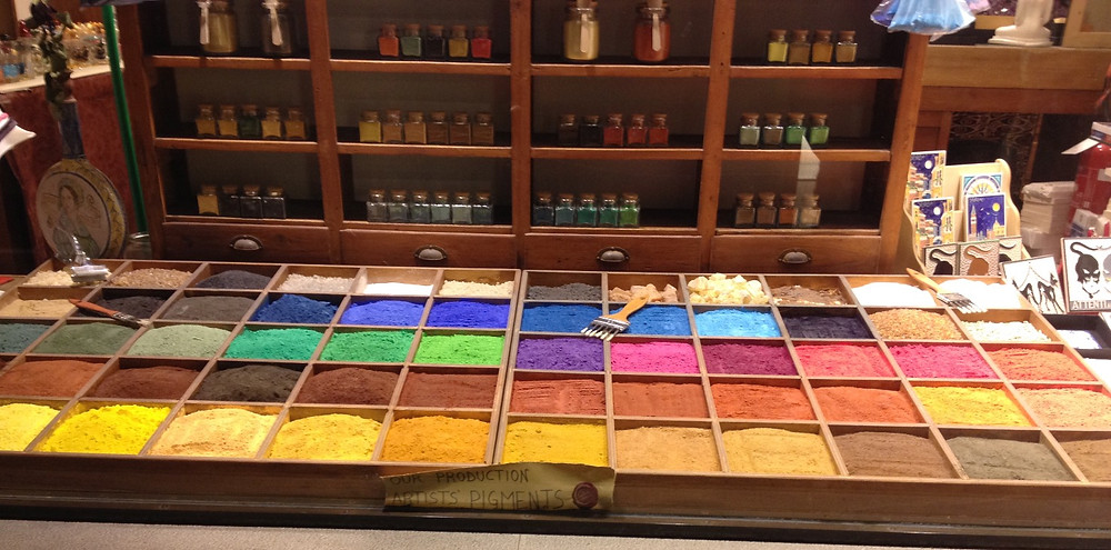 Paint pigment display in a shop window. Photo by Diana Dinverno