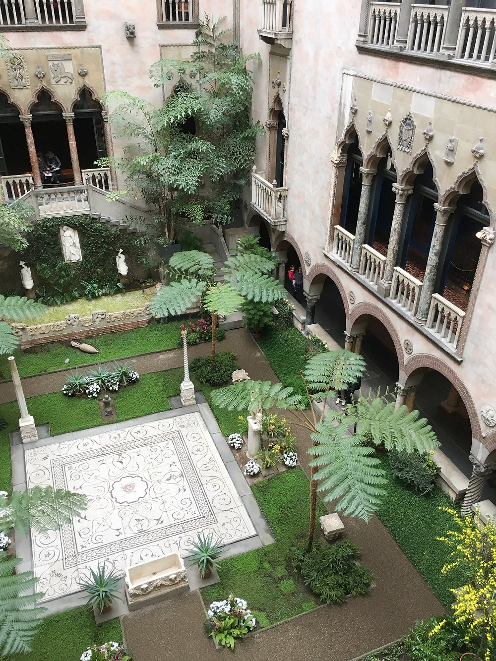 View of the Isabella Stewart Gardner Museum courtyard from the third floor. Photo by Diana Dinverno.