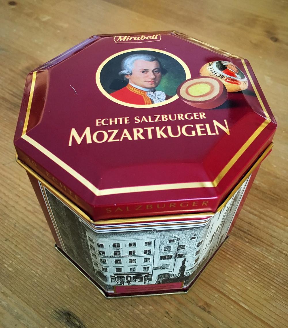 Tin of Mozartkugeln. Photo by Diana Dinverno