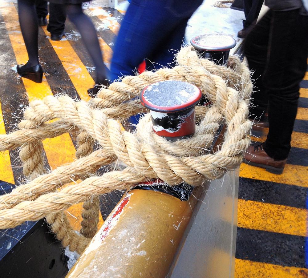 Rope line on a vaporetto. Photo by Diana Dinverno