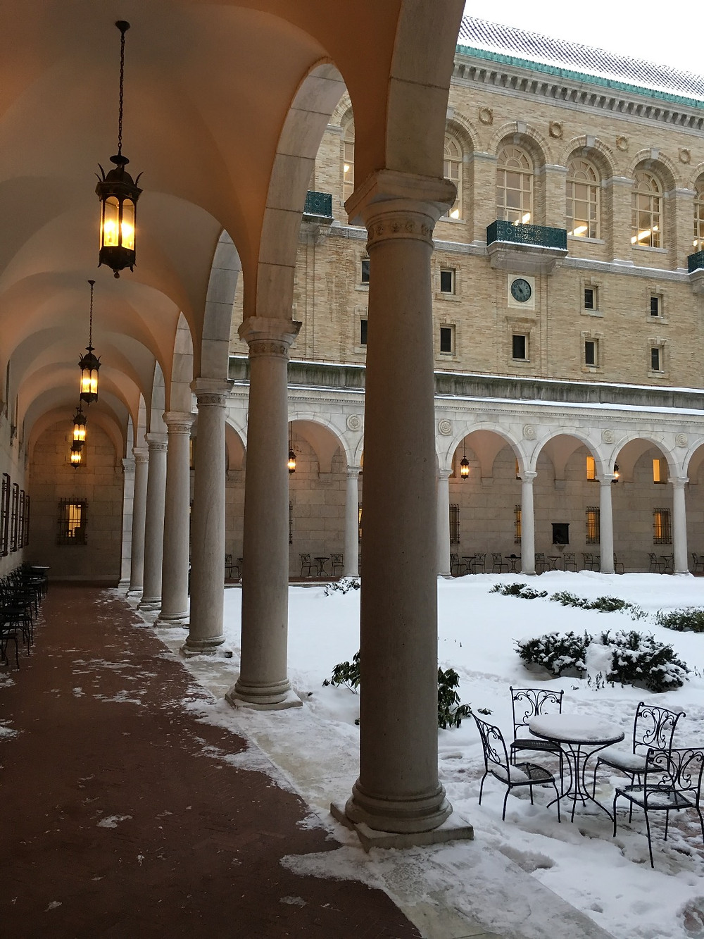 Cloister at Boston's main library in winter. Photo by Diana Dinverno