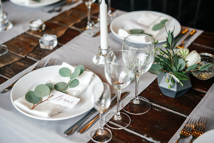 place cards with the guest's name on the plate. A beautiful table for any occasion, holida
