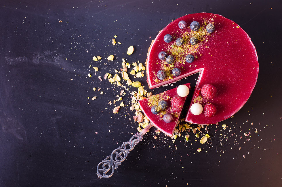 Delicious raspberry cake with fresh stra