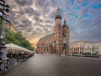 The changing colours of the medieval city, Kraków.