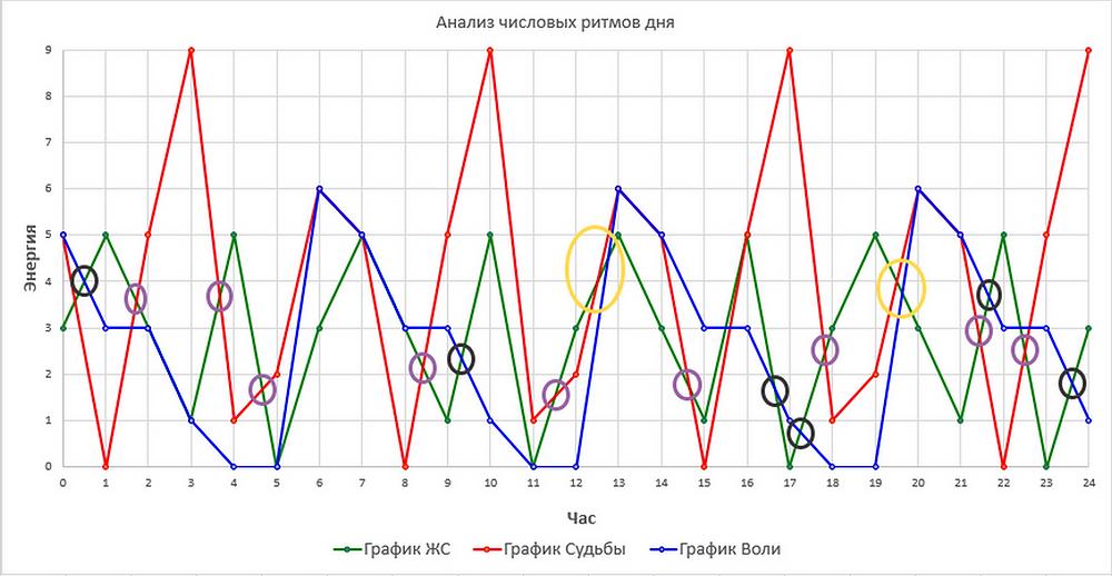 Анализ числовых ритмов дня