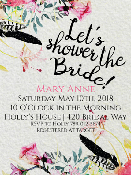 Watercolor Bridal Shower Invitation W4504