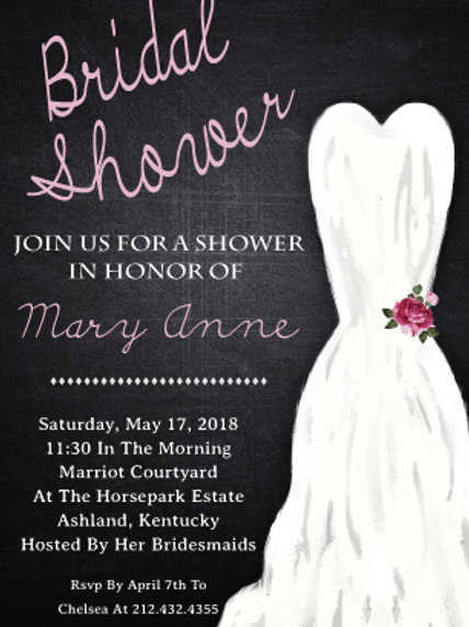 Chalk Bridal Shower Invitation W4503