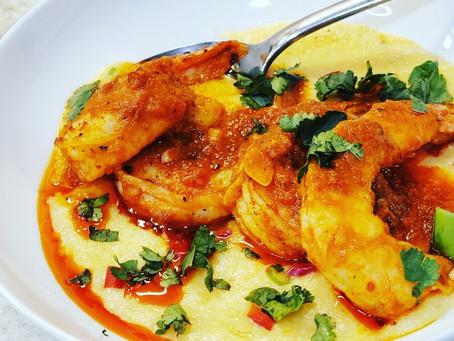 Creamy, Dreamy, Smoky Pimento Cheese Grits & Shrimp