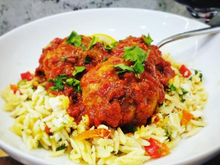 Mediterranean Meatballs + Feta Orzo Salad