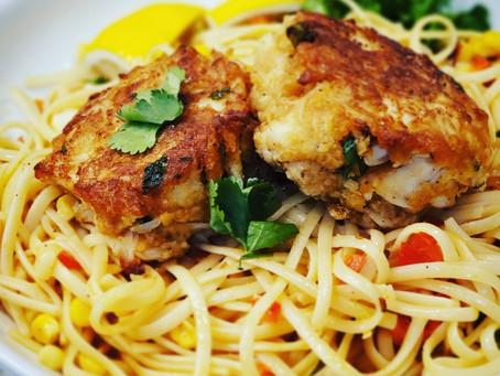 2 Recipe Alert! Lump Crab Cake + Summer Corn-Pepper Linguine