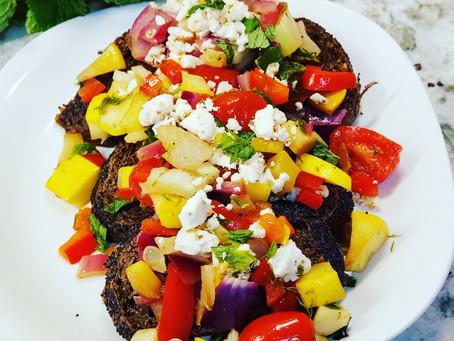 Roasted Vegetable over Dark Toasts with Feta