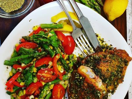 Crispy Spring Chicken & Vegetables in Herb Sauce