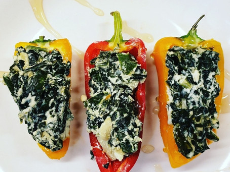 Low-Carb Alert! Goat Cheese & Kale Dip Stuffed Sweet Peppers