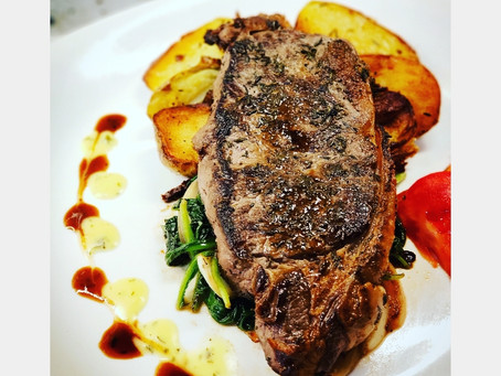 Thyme & Pepper Crusted NY Strip with Pomme Frites and Spinach