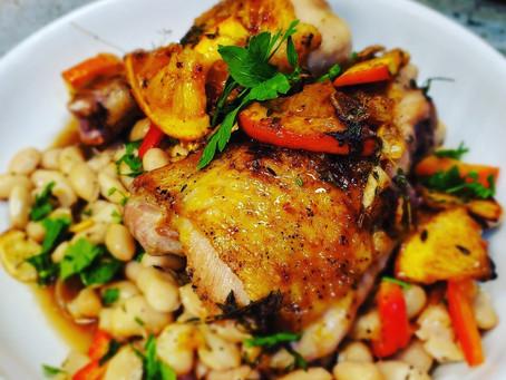 Orange-Herb Butter Chicken & White Beans