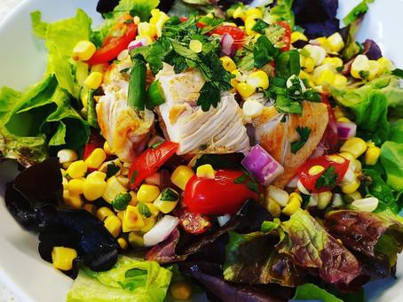 Cilantro Corn-Tomato Dinner Salad - Top it as you like!