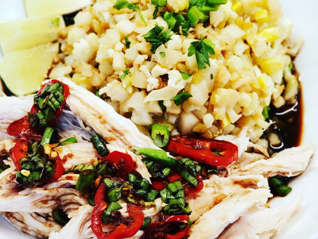 """Oil Poached Chicken & Fried Vegetable """"Rice"""" - Mediterranean Technique Meets Chinese Flavor!"""