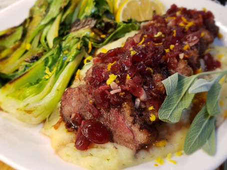 Christmas Duck Breast with Cranberry-Orange Sauce + Braised Bok Choy