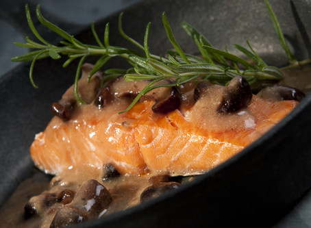 Pan Seared Salmon with Garlic-Mushroom Sauce