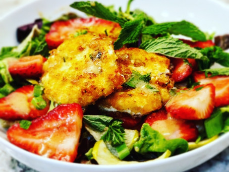Fried Goat Cheese & Strawberry Mint Salad