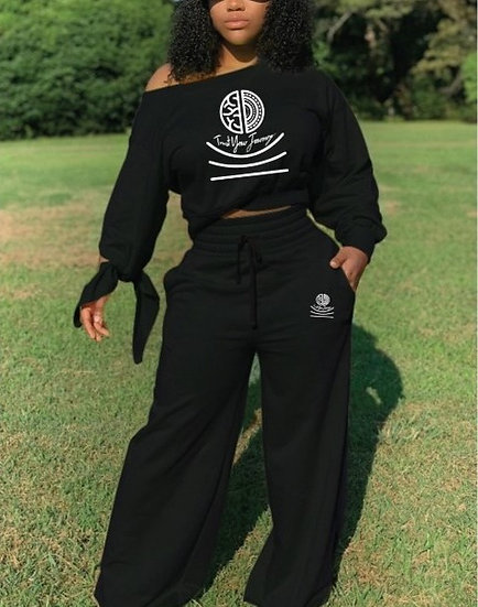 TYJ Logo Cold Shoulder Two Piece