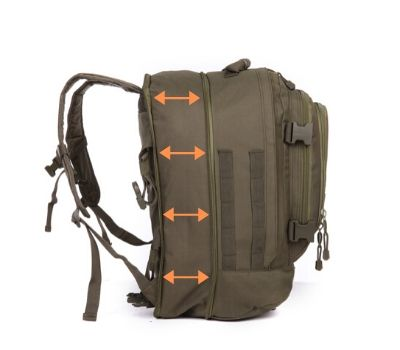 Extra zipper opens to allow backpack to expand for more storage.