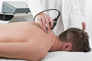 Close-up of laser treatment at physiothe
