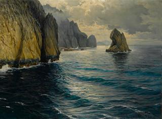 MICHELE FEDERICO (Italian, 1884-1966) The Capri coast 35 1/2 x 47 1/4in