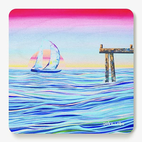 Seas Were Meant to be Sailed Wooden Coaster