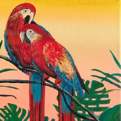 """'Love Birds', 8""""x8"""". Available for sale. This painting I made in Brazil and its include on my 'Tropical Series'."""