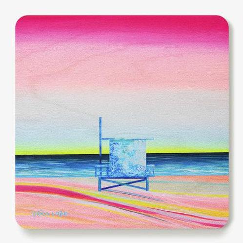Happy Sand Wooden Coaster