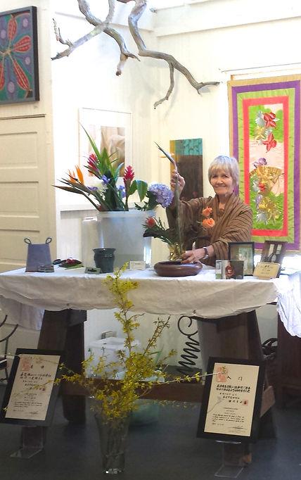 Ellen P. Flynn Demonstrates Ikebana Floral Art