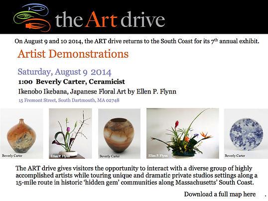 Ellen P. Flynn to demonstrate Ikebana floral art at ceramicist Beverly Carter's studio on August 9, 2014