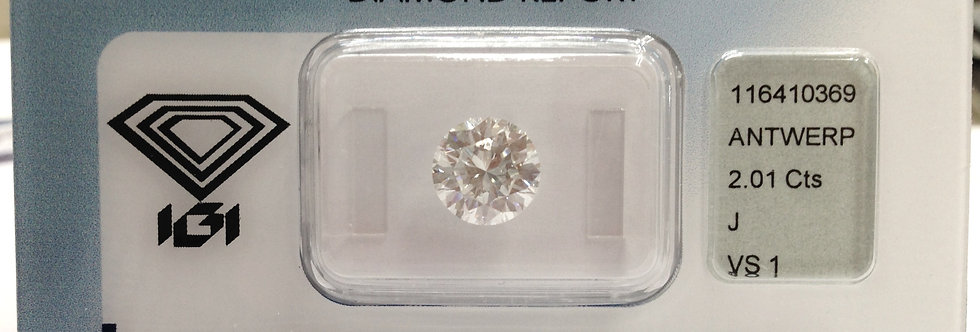 Round Brilliant 2ct J VVS1 certified by HRD
