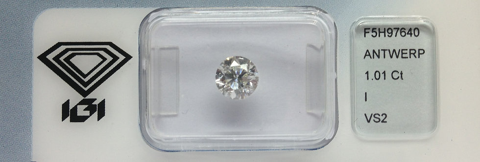 Round Brilliant 1.01ct I VS2 certified by IGI