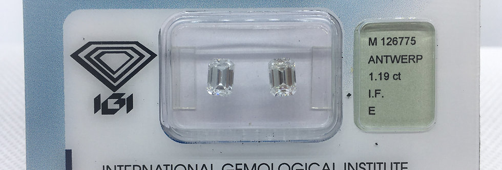 Emerald Couple 1.19ct E IF certified by IGI