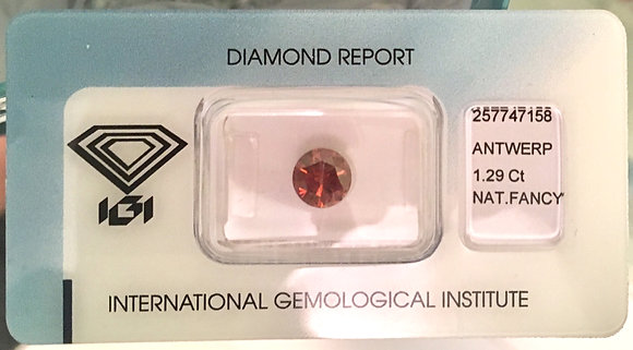 Diamante Laranja Natural 1.29ct - Certificado IGI