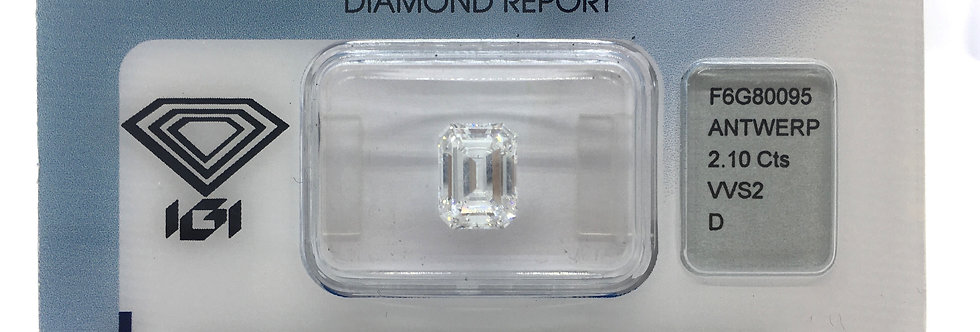 Emerald 2.1ct D VVS2 certified by IGI