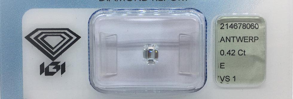 Emerald 0.42ct E VS1 certified by IGI
