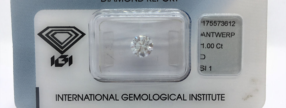 Round Brilliant 1ct D SI1 certified by IGI